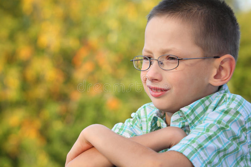 Download Portrait Of Boy With Arms Across In Fall Park Stock Photo - Image of head, hair: 13020888