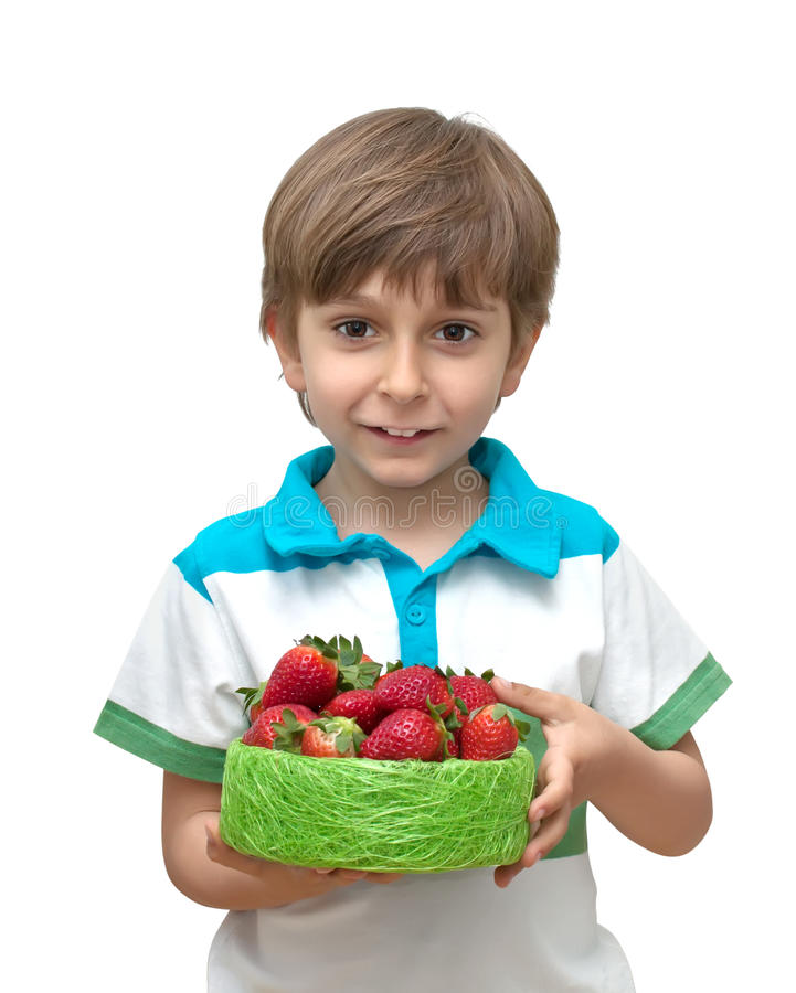 Download Portrait Of A Boy With A Bowl Of Strawberries In T Stock Photo - Image: 19177300