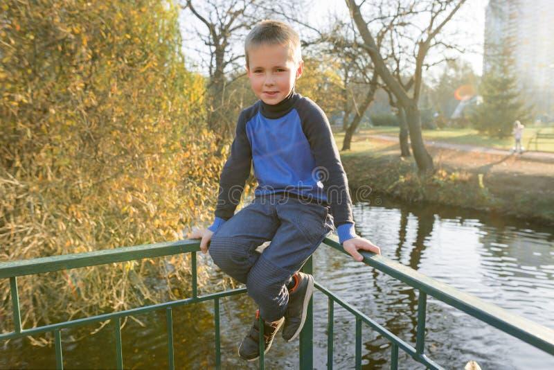 Portrait of boy child on bridge in sunny autumn park, background pond leaf fall royalty free stock image
