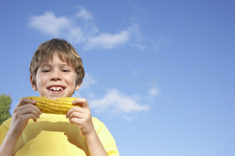 Portrait Of Boy Eating Corn On The Cob stock images