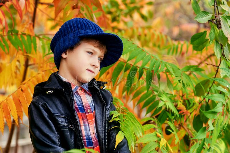 Portrait of a boy in a warm knitted cap on an autumn walk . royalty free stock photo