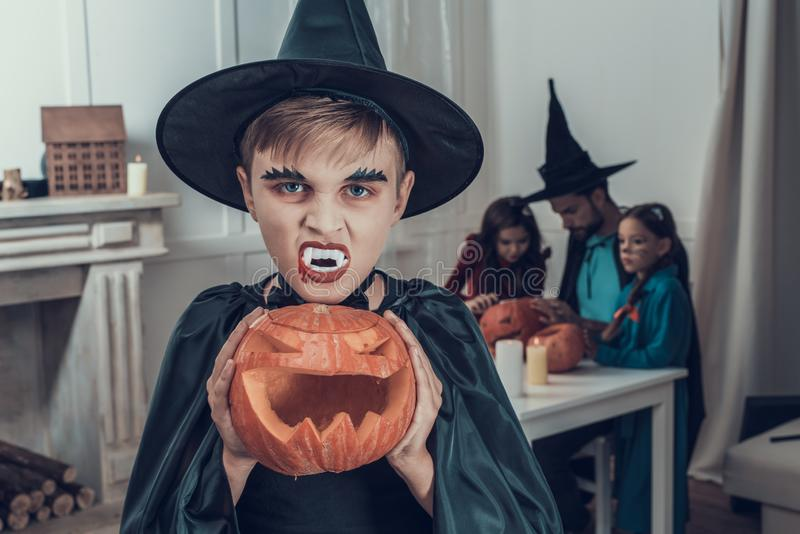 Portrait of Boy Wearing Scary Halloween Costume royalty free stock photos