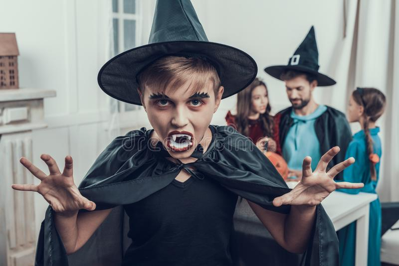 Portrait of Boy Wearing Scary Halloween Costume royalty free stock photo