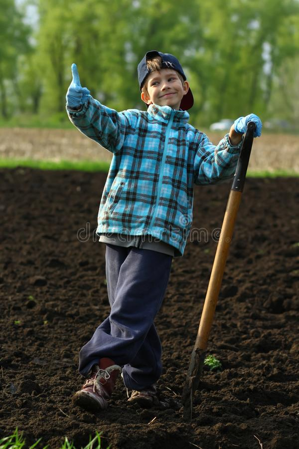 Portrait of a boy posing with a spade on the vegetable garden. Portrait of a boy working and posing with a spade on the vegetable garden stock photos