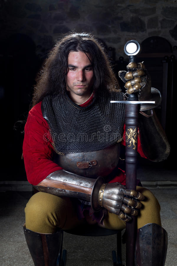 Portrait of Brave Warrior With Sword royalty free stock images