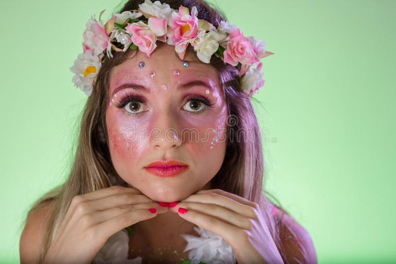Portrait of brazilian girl with fun costume. Bright and Colorful. Holiday concept, tradition and costume stock images