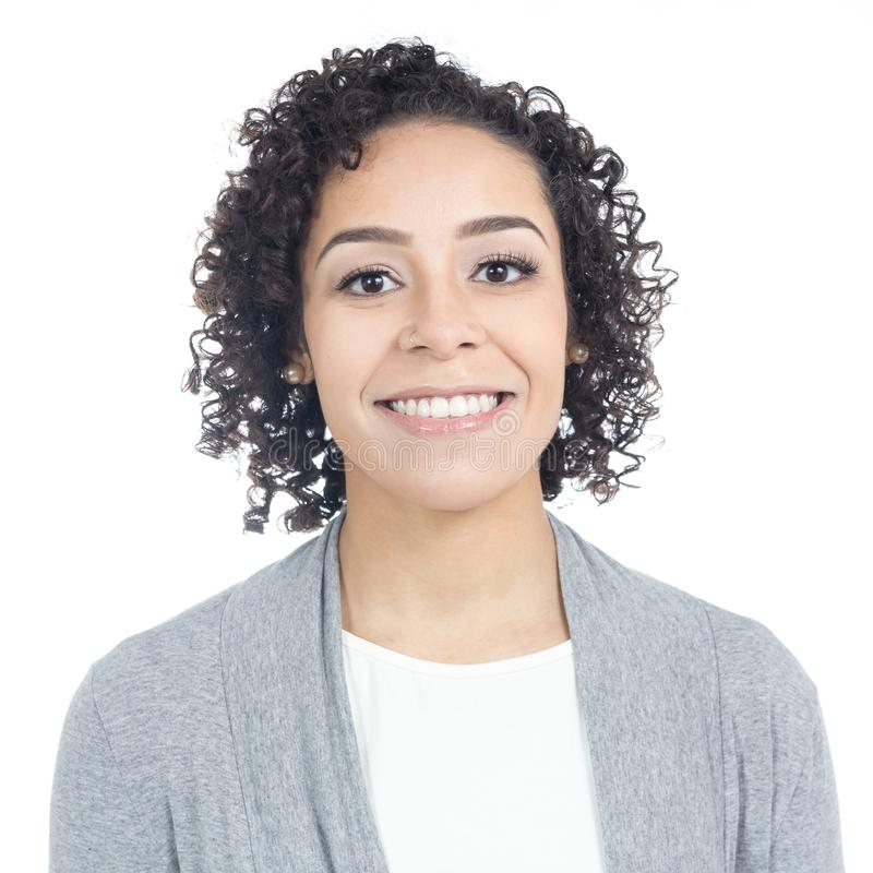 Portrait of Brazilian woman with a wide smile. She has short, cu royalty free stock images
