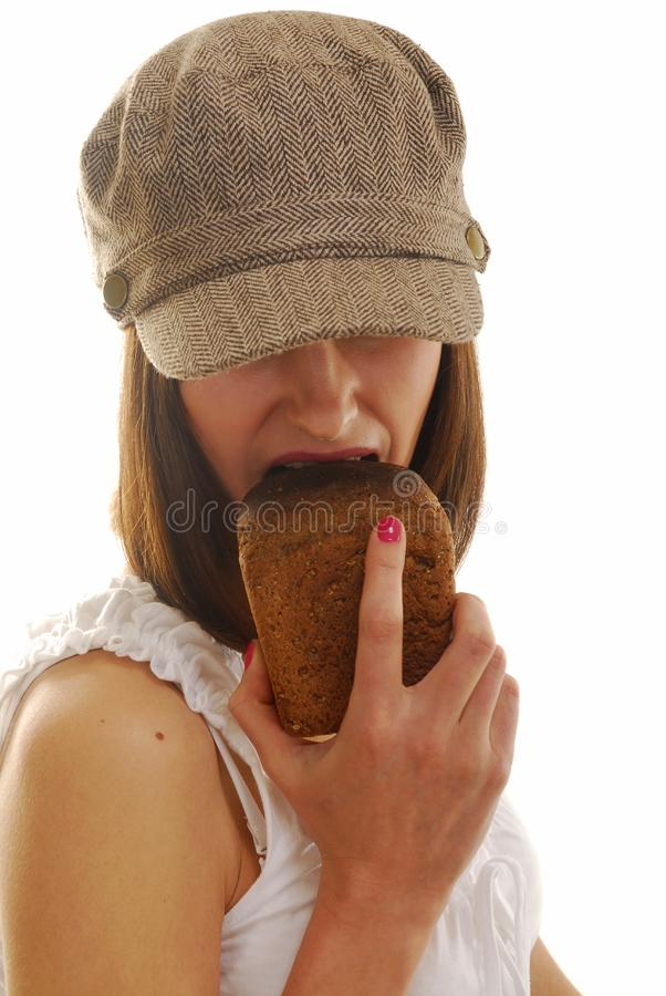 Download Portrait with bread stock photo. Image of meal, attractive - 4103852