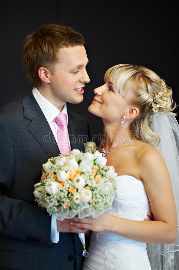 Portrait of the bride and groom royalty free stock images