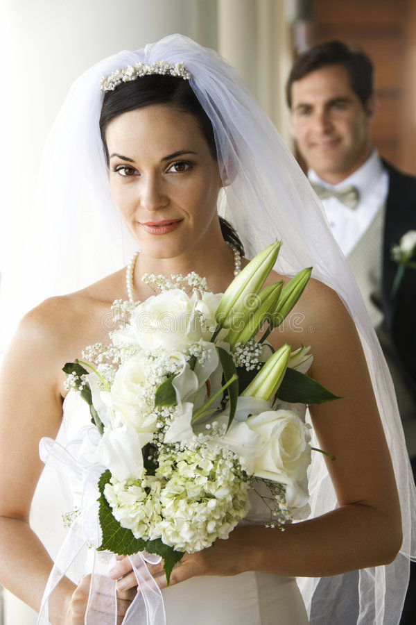 Portrait of bride and groom. stock photos