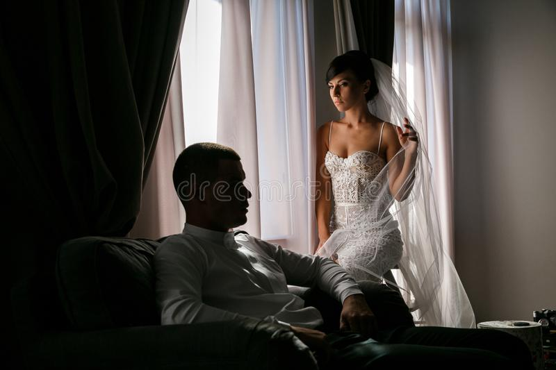 Portrait of the bride and groom in the interior royalty free stock photo