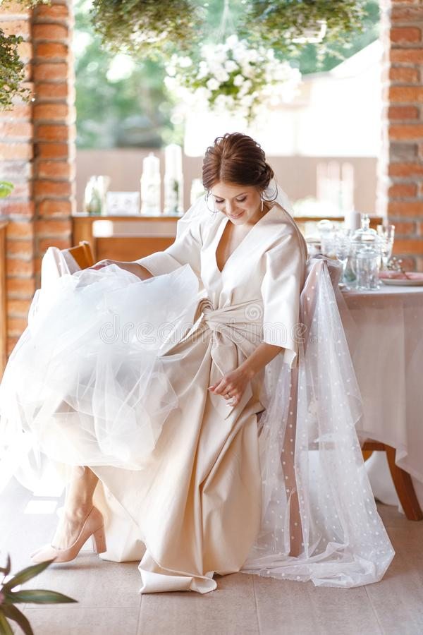 Morning portrait of the cute bride with veil stock image
