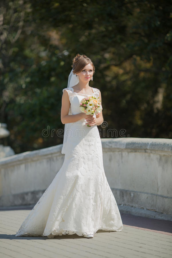 Portrait of bride on open air royalty free stock photography