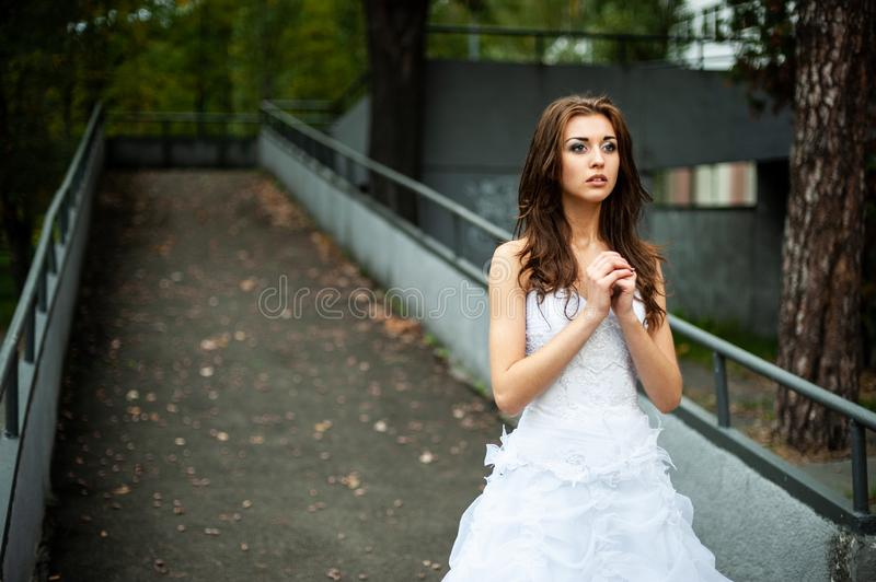 Portrait of a bride in a wedding dress. On the street stock photo