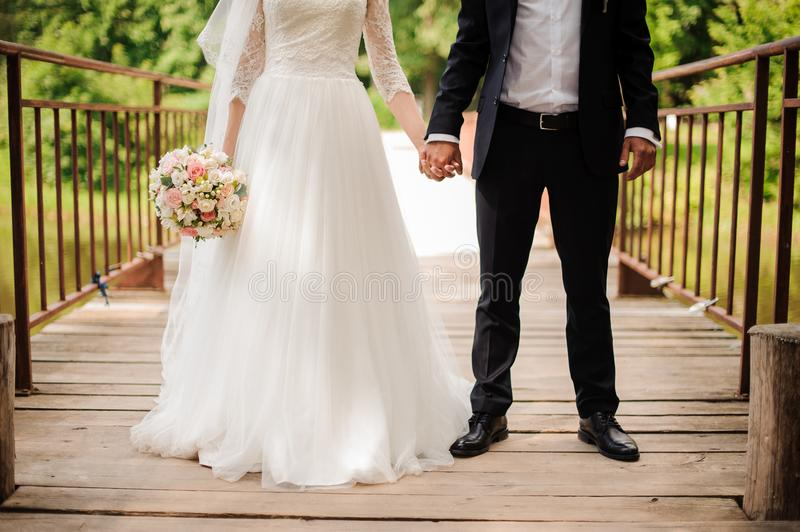 Portrait of bride in a white dress and bridegroom in a wedding suit royalty free stock images