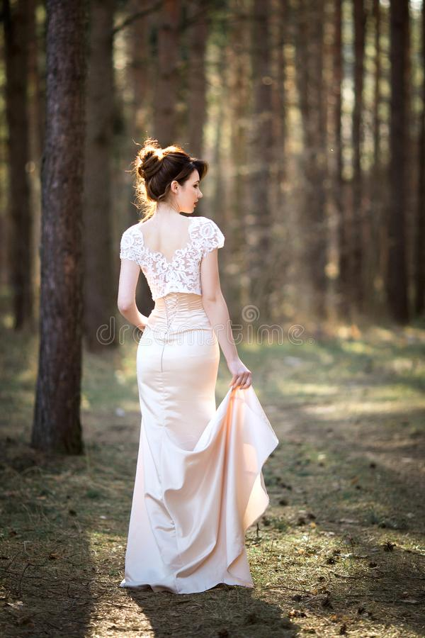 Portrait of bride in white dress On the Sunset.  stock photo