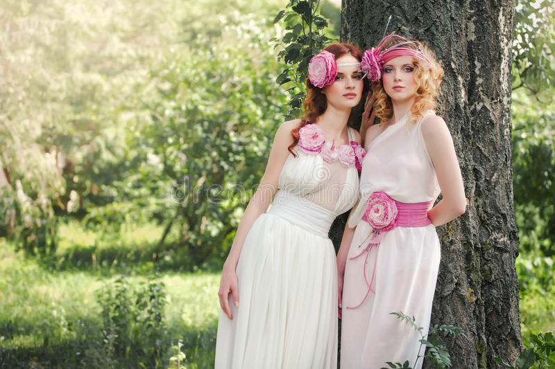 Portrait of a bridesmaid in nature. royalty free stock photo