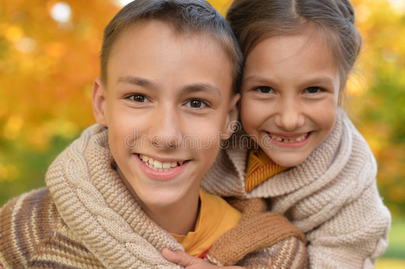 Portrait of brother and sister stock images