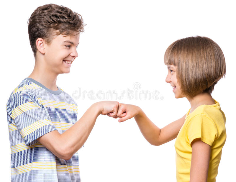 Portrait of brother and sister royalty free stock image