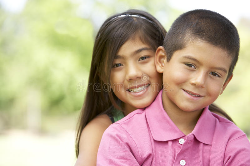 Download Portrait Of Brother And Sister In Park Stock Image - Image: 11502909