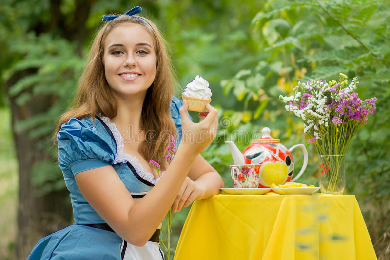 Portrait of brown-haired girl royalty free stock photography