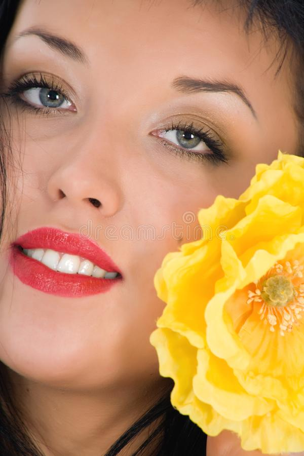 Download Portrait Of The Brunette With Blue Eye Stock Image - Image: 4646325