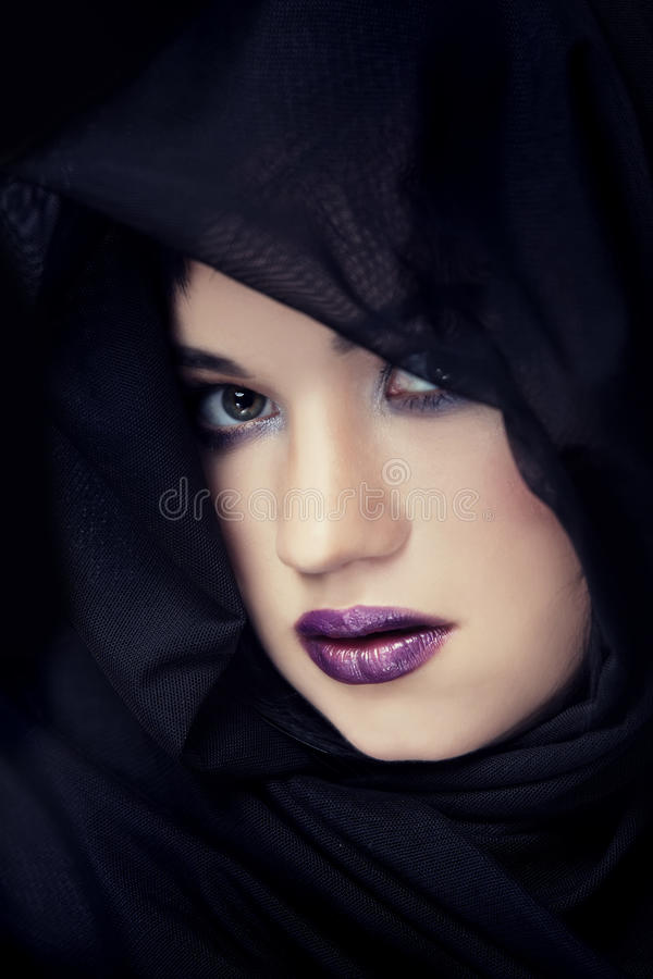 Download Portrait Of A Brunette Hiding Stock Photography - Image: 28532862