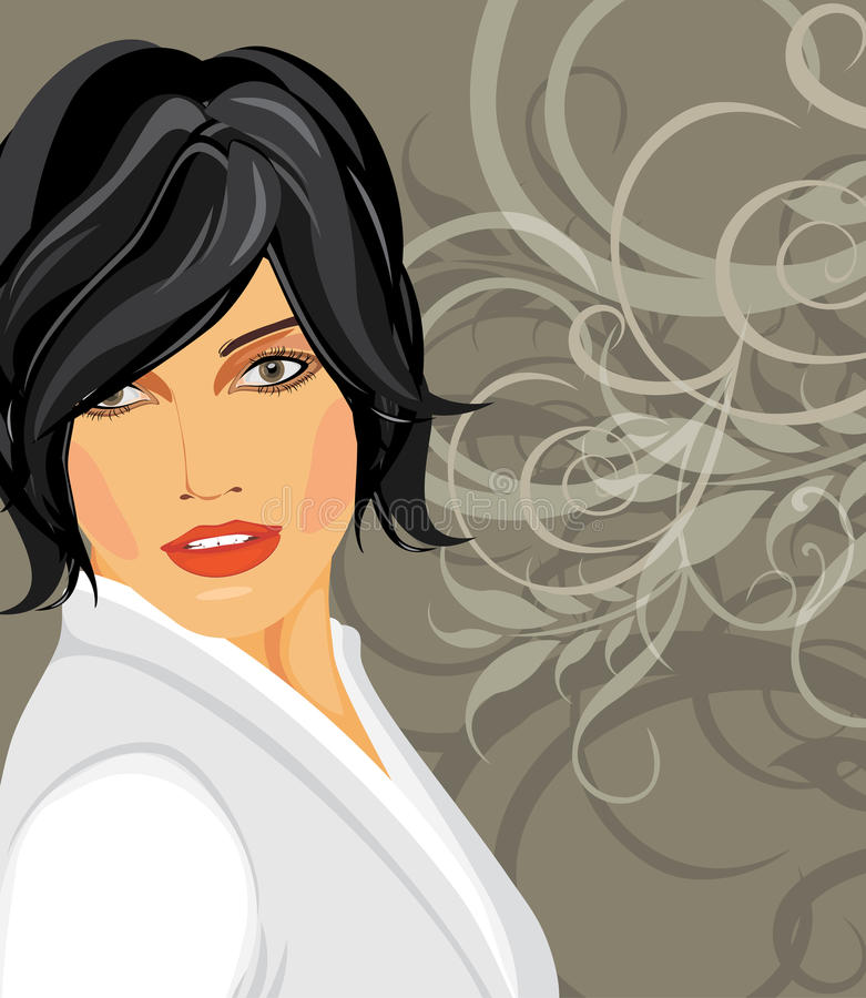 Download Portrait Of Brunette In A White Blouse Stock Vector - Image: 26735421