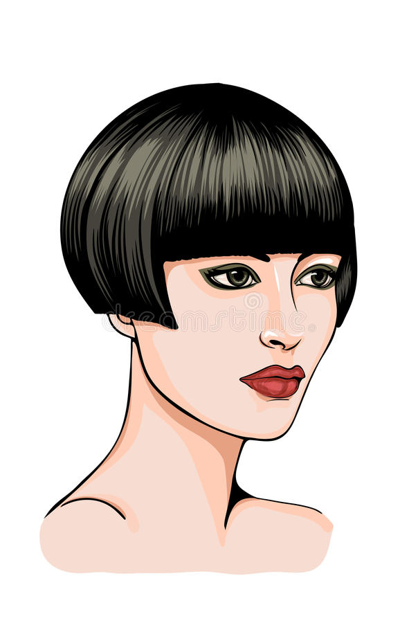 Portrait of a brunette woman with short hair royalty free stock image
