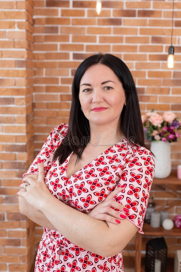 Portrait of a brunette woman in a red and white checkered dress posing against a brick wall.  stock image