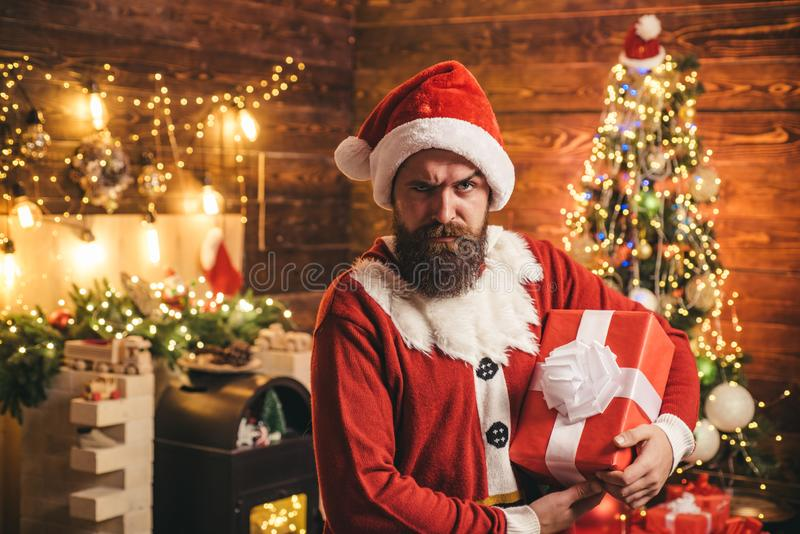 Portrait of a brutal mature Santa Claus. Merry Christmas and happy New Year. Portrait of a brutal mature Santa Claus. Merry Christmas and happy New Year stock images