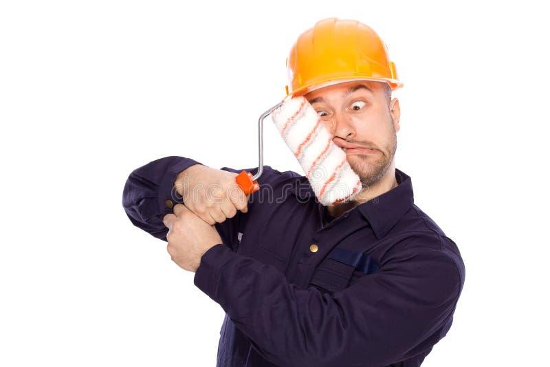Portrait of a builder stock photo