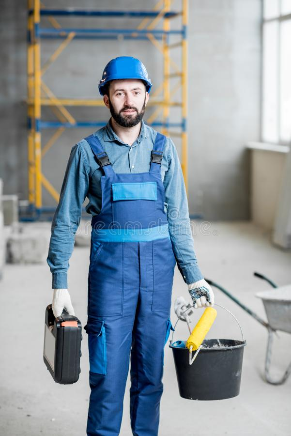 Builder at the construction site stock photography