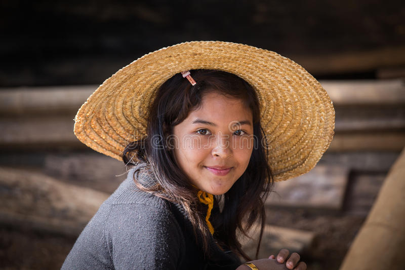 Portrait burmese girl in local market. Inle lake, Myanmar, Burma royalty free stock photo