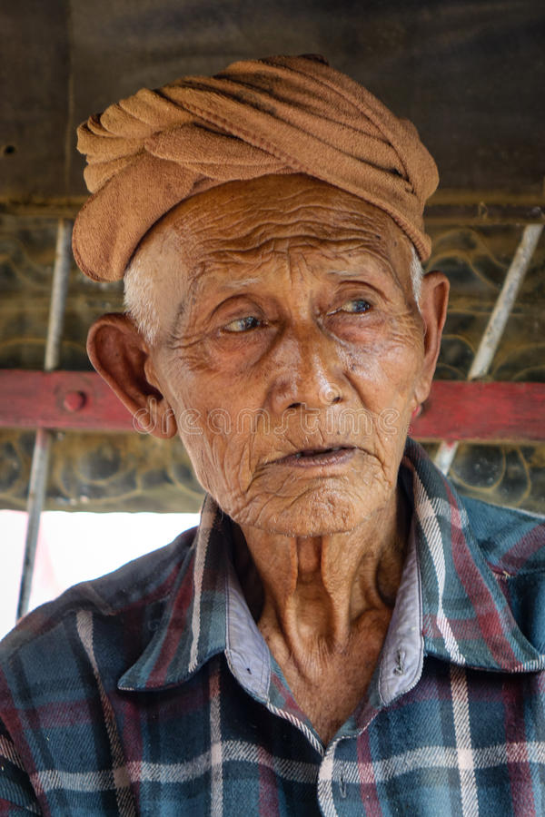 Portrait of Burmese man at Mingun town in Mandalay, Myanmar.  stock photography