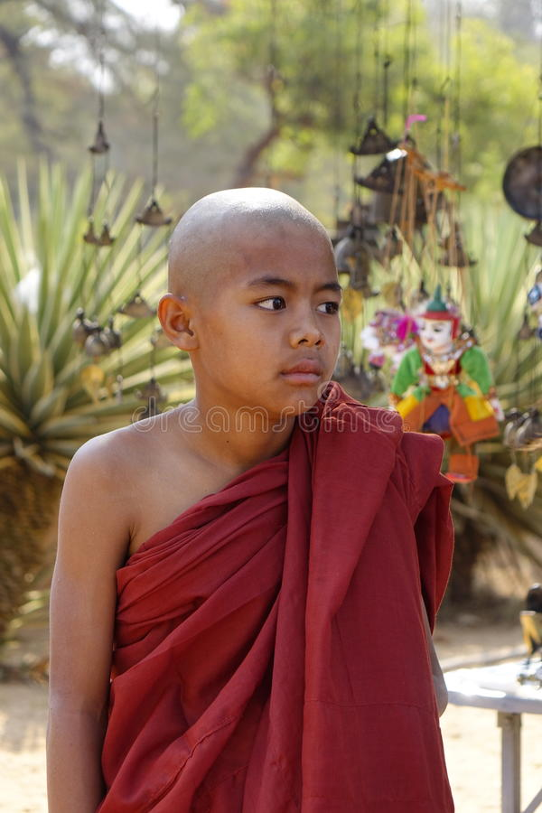 Portrait of Burmese novice monk stock photos