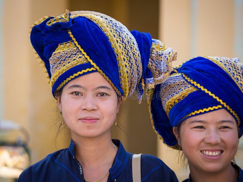 Portrait Burmese woman in the national costume. Bagan, Myanmar. BAGAN, MYANMAR - JANUARY 18, 2016: Unidentified Burmese woman in the national costume. The local stock image