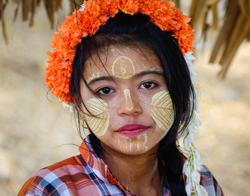 Portrait of Burmese woman on street in Yangon, Myanmar.  royalty free stock image