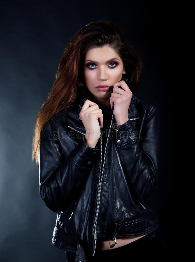 Portrait of burning fashion brunette. stock image