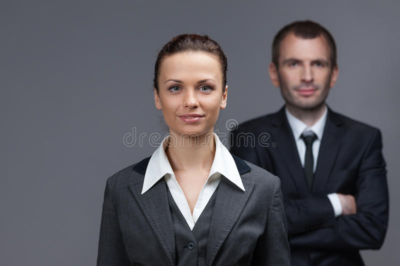 Portrait of business male and female partners stock photos