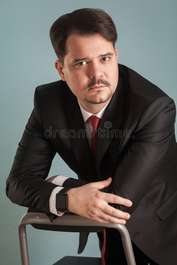 Portrait of business man in classic stylish suit royalty free stock image