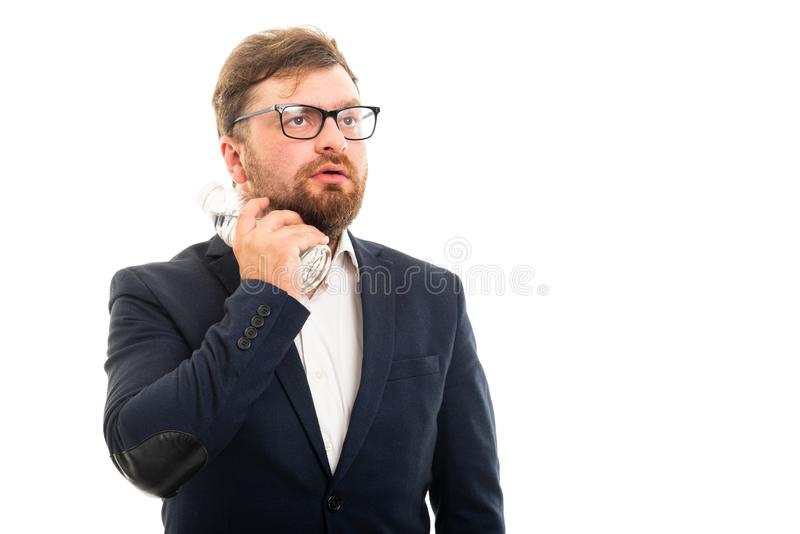 Portrait of business man cooling with bottle of water gesture stock images