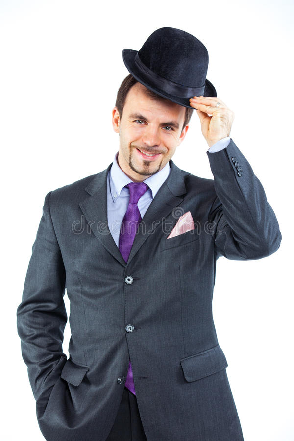 Download Portrait Of A Business Man With Hat Stock Photo - Image of attitude, fresh: 23752912