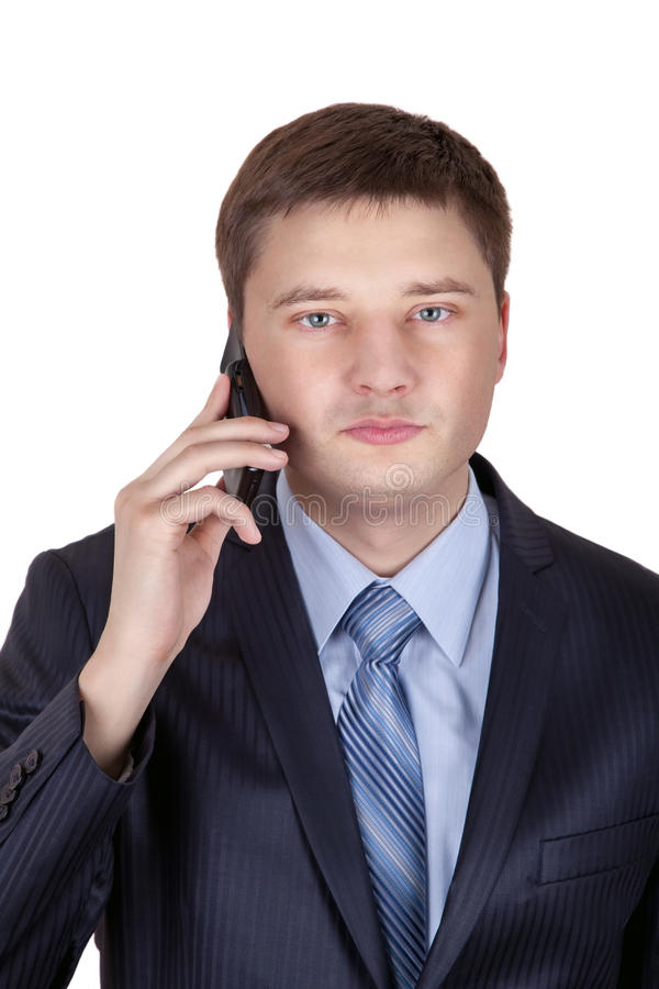 Portrait of a business man with phone isolated