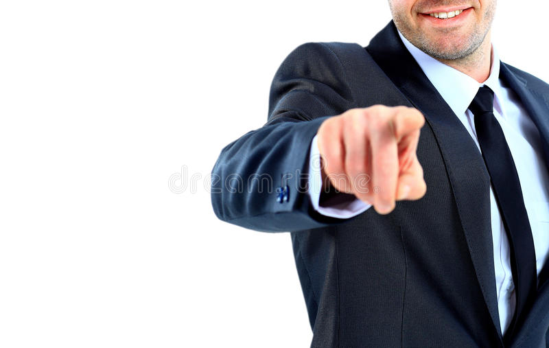 Portrait of business man pointing at you against royalty free stock image