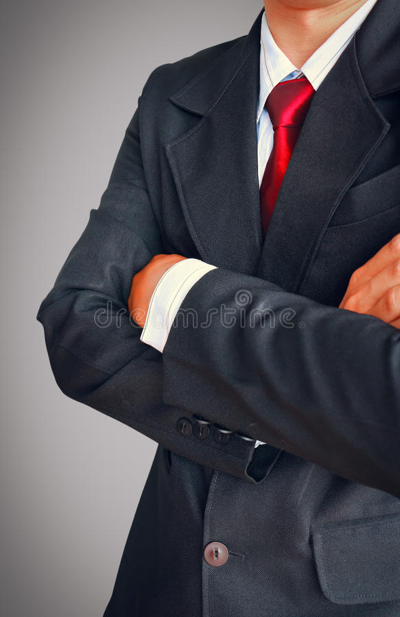 Portrait of business man in suit with red tie royalty free stock photos