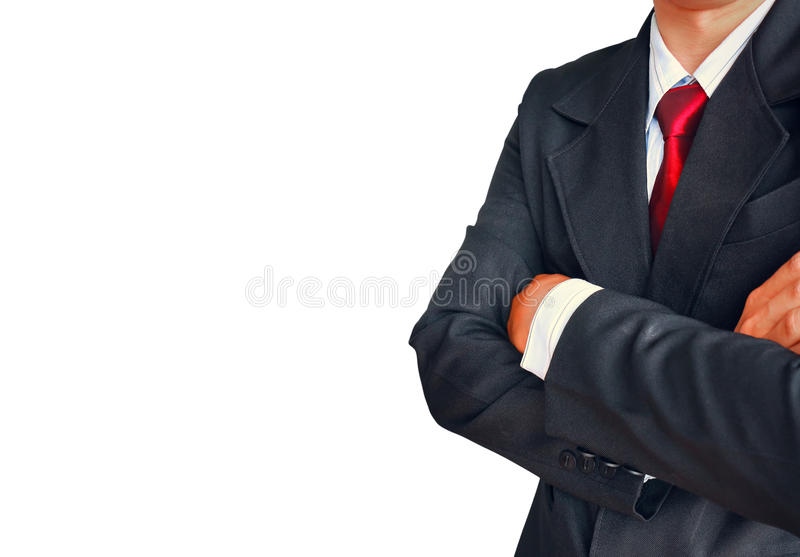 Portrait of business man in suit with red tie on white background stock photo