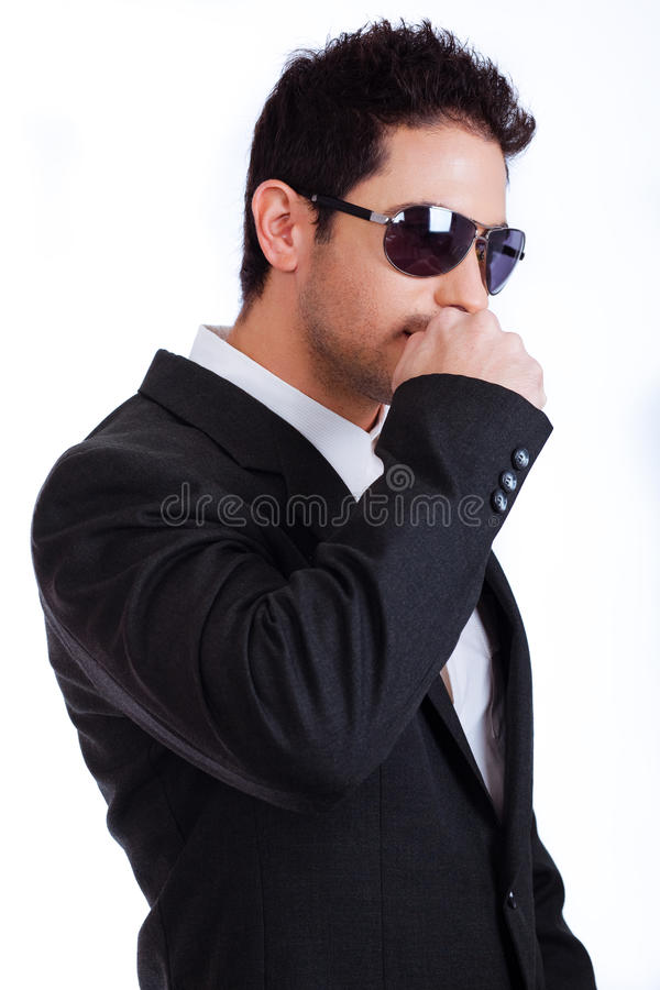 Portrait of a business man with sunglasses stock photo