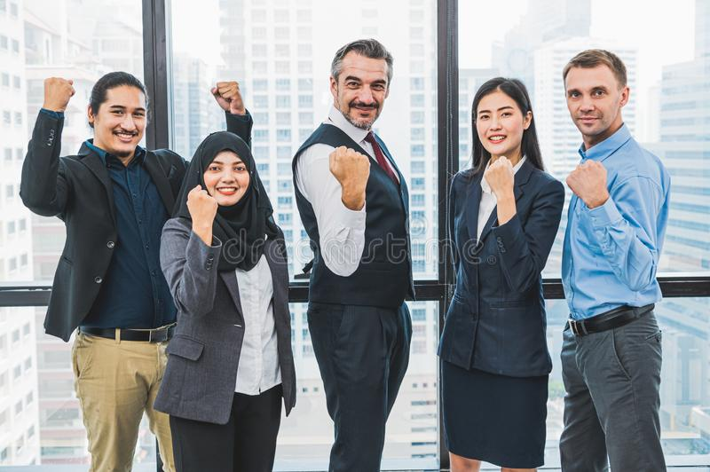 Portrait of business people group having confident in successful job in modern office background. People lifestyl and partnership royalty free stock images