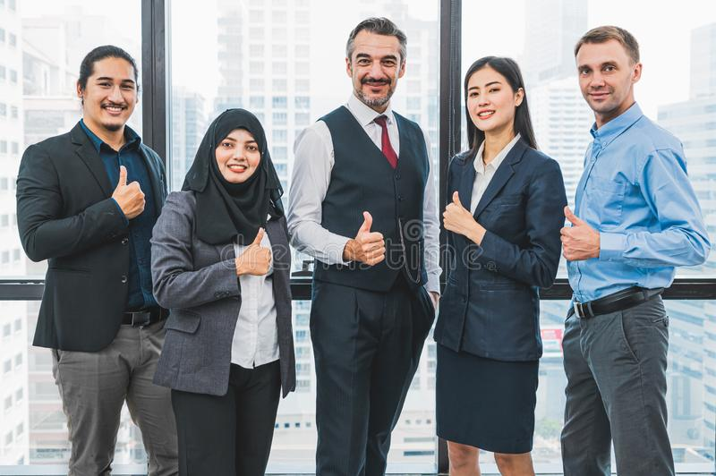 Portrait of business people group having confident in successful job in modern office background. People lifestyl and partnership royalty free stock image
